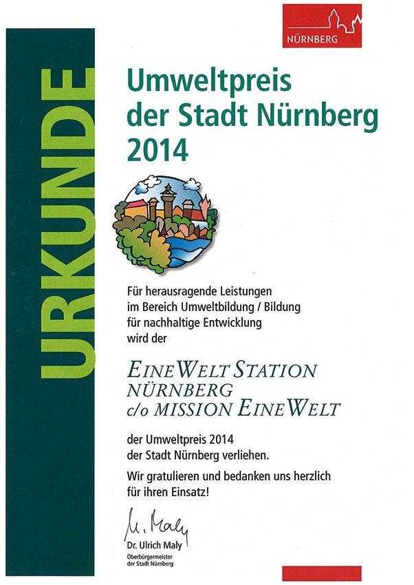 Urkunde: Umweltpreis der Stadt Nürnberg 2014