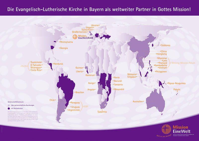 Weltkarte mit Beziehungen der Evang.-Luth. Kirche in Bayern