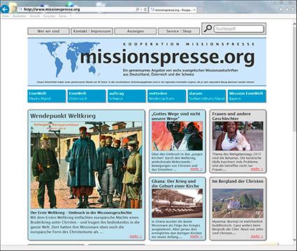 Screenshot von www.missionspresse.org