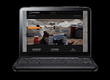 Laptop mit Website zum Thema Flucht und Migration