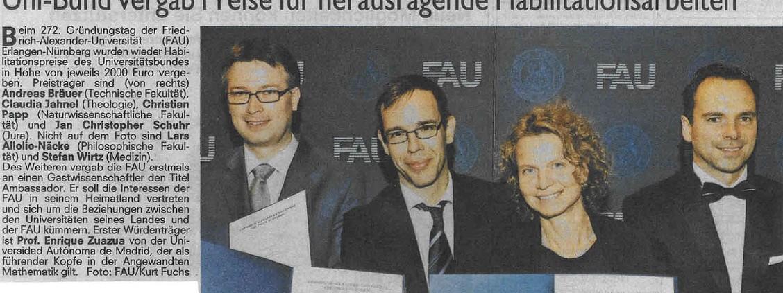 Pressemeldung für herausragende Habilitationen in der FLZ 2015