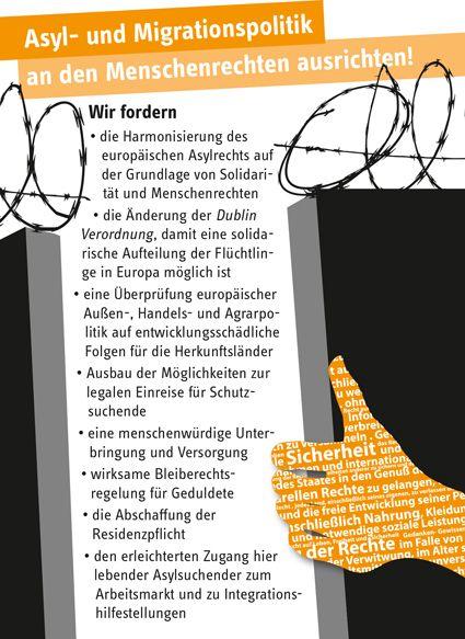 Forderungen als Postkarte, Thema: Migration und Flucht