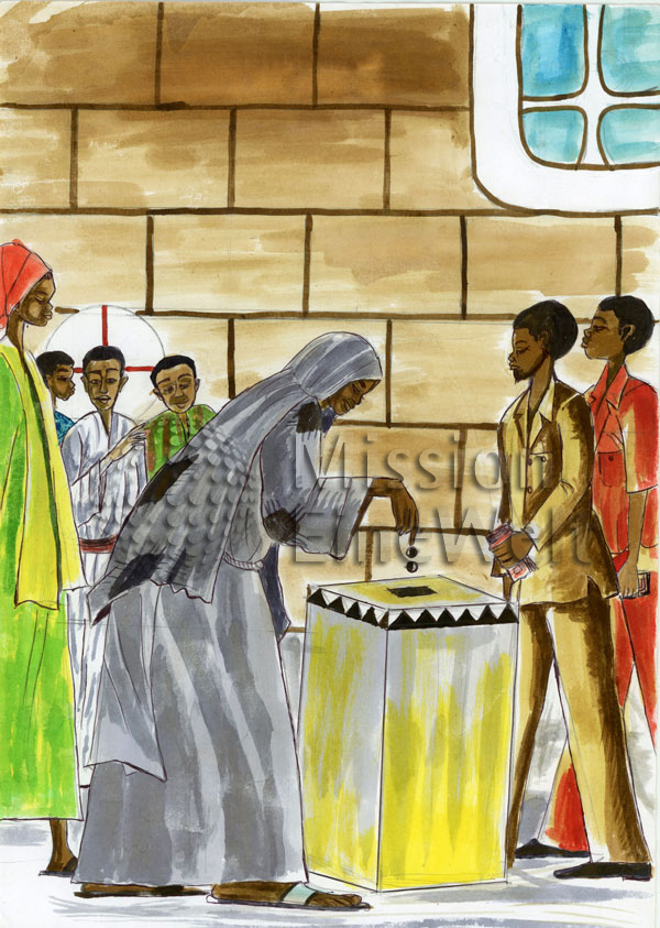 Das Gleichnis von der gebenden Witwe (Markus 12, 41 – 44)