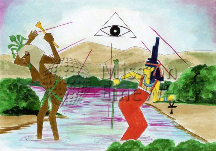 Die zehn Plagen (Exodus 7 – 11,10) Die erste Plage: Blut im Wasser