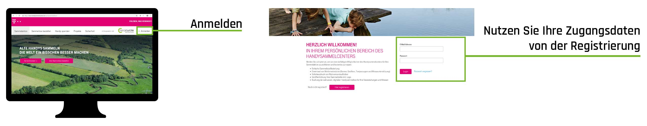 Handyaktion - Sammelstellen-Website der Telekom